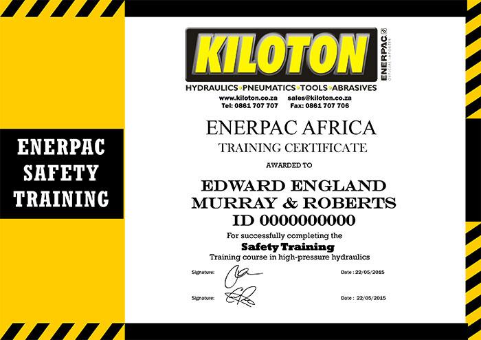 Kiloton Safety Training Certificate