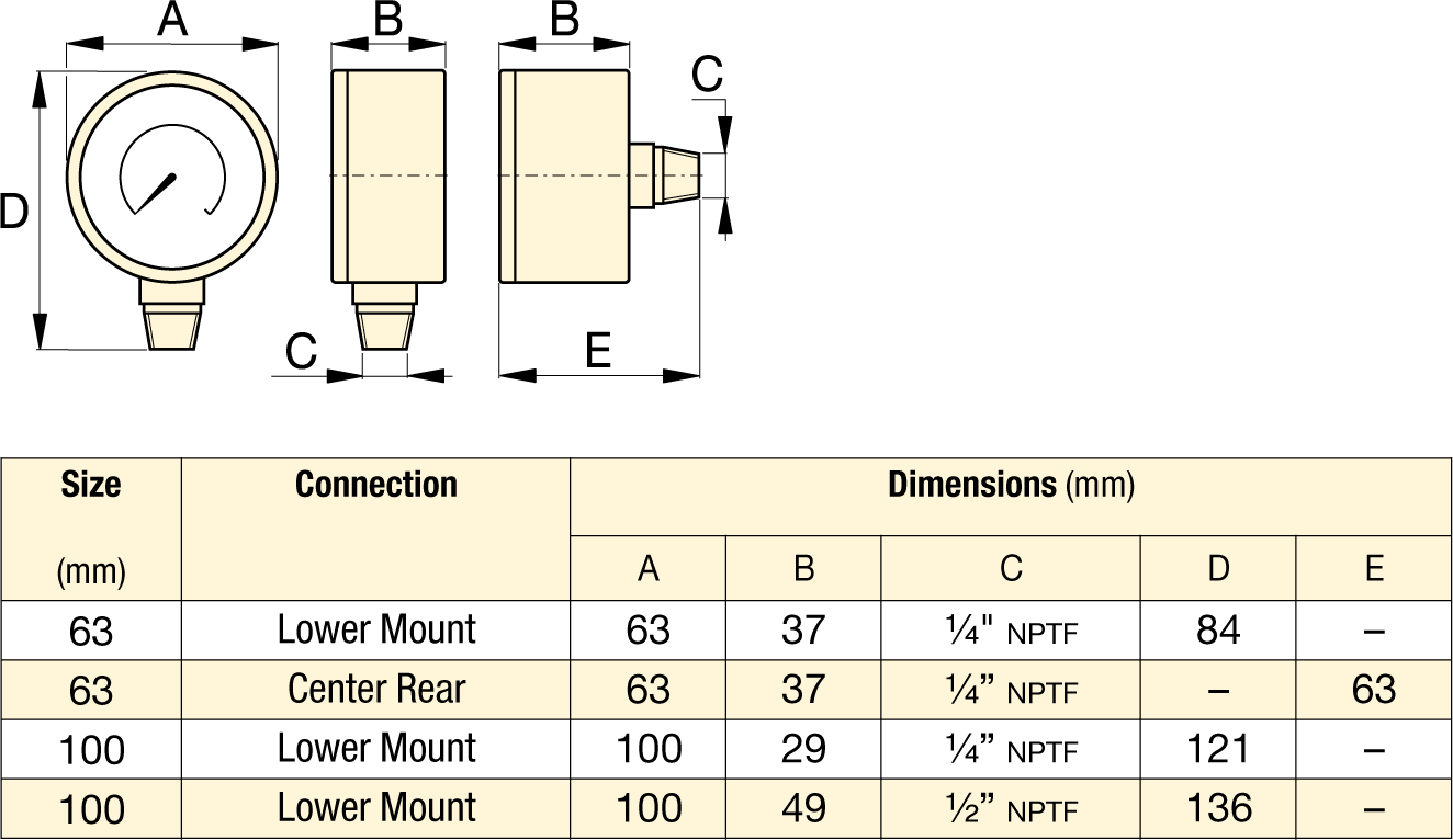 Dimensions for G and H-Series Enerpac Hydraulic Pressure Gauges
